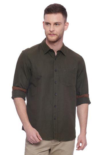 Basics | Basics Slim Fit Fir Green Cotton Linen Shirt