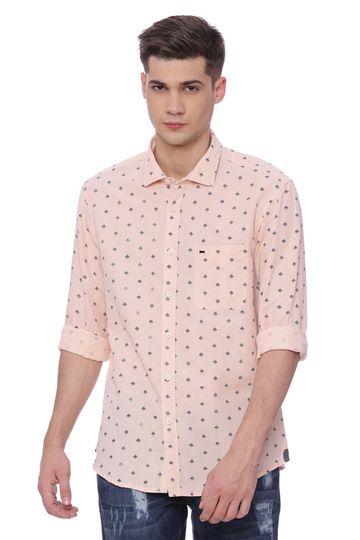 Basics | Basics Slim Fit Orange Sunset Printed Shirt