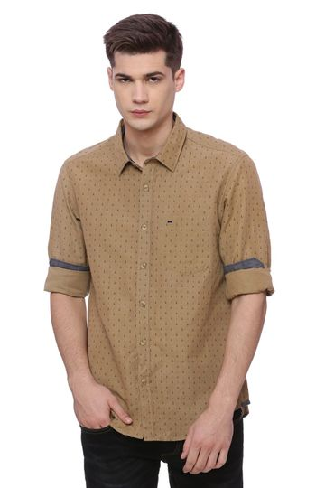 Basics | Basics Slim Fit Ermine Khaki Printed Shirt
