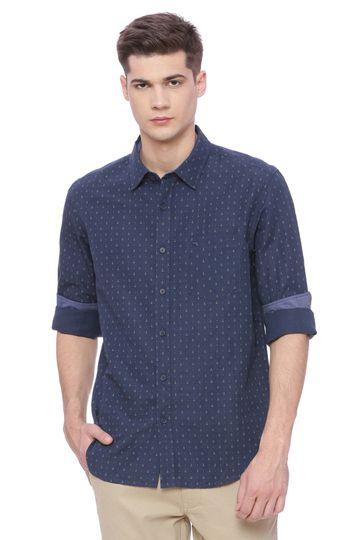 Basics | Basics Slim Fit Dress Blue Printed Shirt