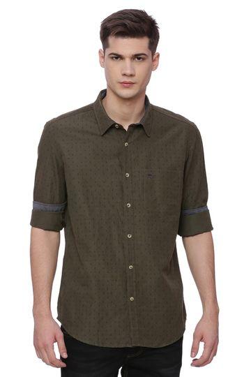Basics | Basics Slim Fit Ivy Green Printed Shirt