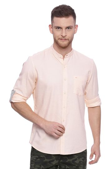 Basics   Basics Slim Fit Pearl Blush Twill Chambray Shirt