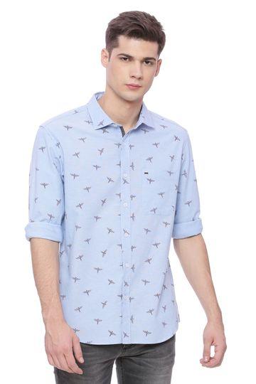 Basics | Basics Slim Fit Faded Denim Printed Shirt