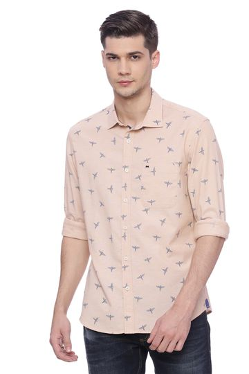 Basics | Basics Slim Fit Apricot Ice Printed Shirt