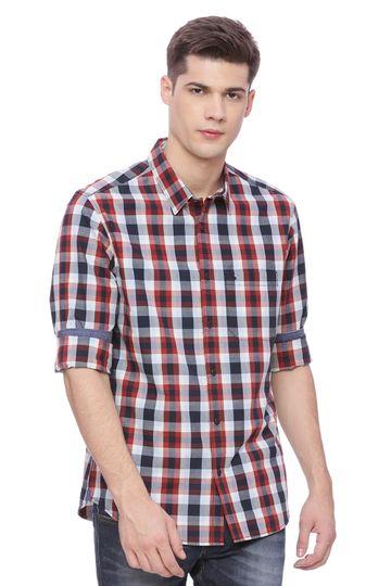 Basics | Basics Slim Fit Chili pepper  Red Checks Shirt