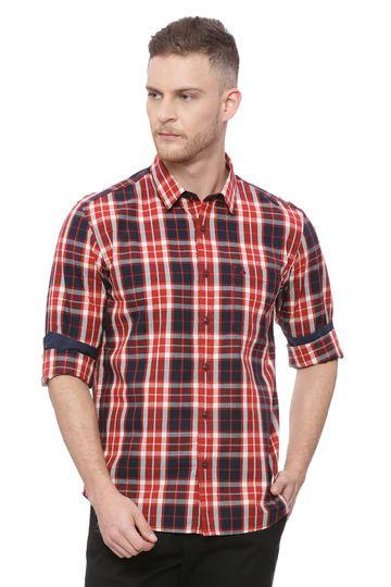 Basics | Basics Slim Fit Samba Red Checks Shirt