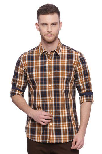 Basics   Basics Slim Fit Pumpkin Spice Brown Checks Shirt
