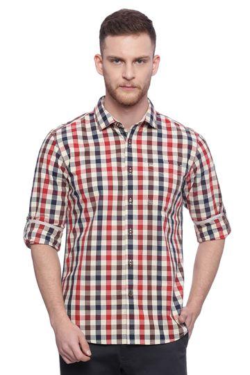Basics | Basics Slim Fit Pompeian Red Checks Shirt