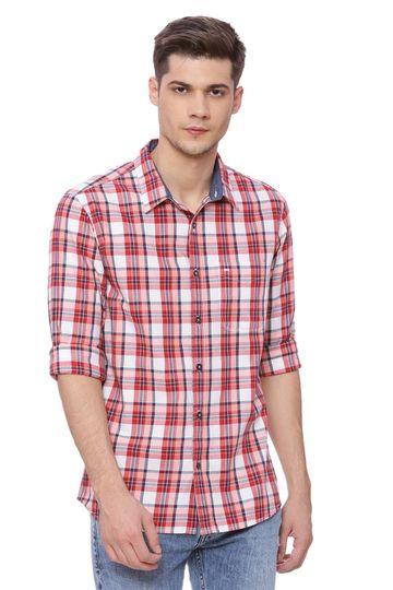 Basics | Basics Slim Fit Lollipop Red Checks Shirt