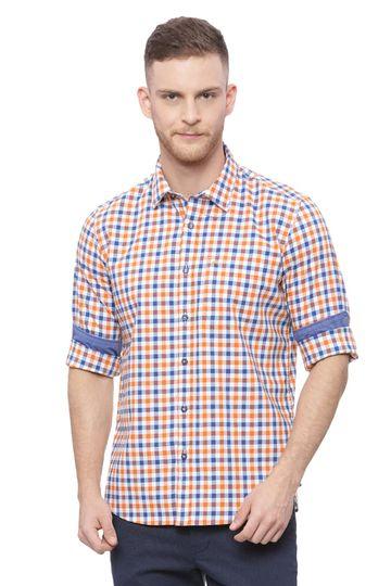 Basics | Basics Slim Fit Russet Orange Checks Shirt