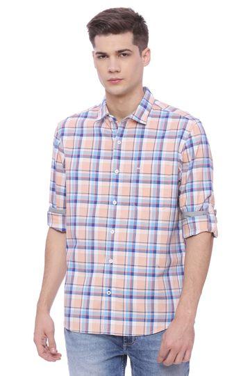 Basics | Basics Slim Fit Salmon Checks Shirt Checks Shirt