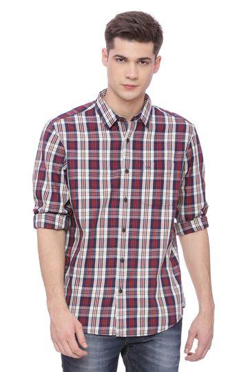 Basics | Basics Slim Fit Ruby Red Checks Shirt