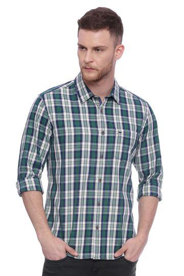 Basics | Basics Slim Fit Pine Green Checks Shirt