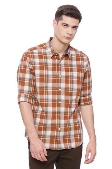 Basics   Basics Slim Fit Leather Brown Checks Shirt