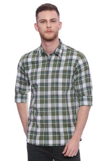 Basics | Basics Slim Fit Garden Green Checks Shirt