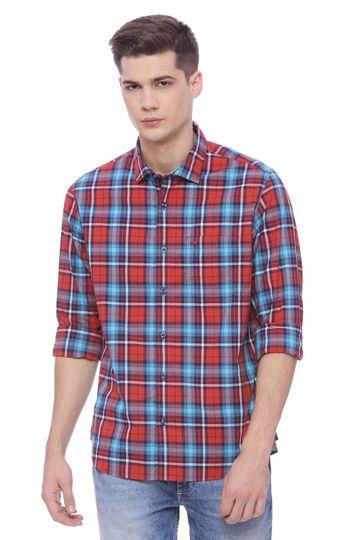 Basics | Basics Slim Fit Molten Lava Checks Shirt