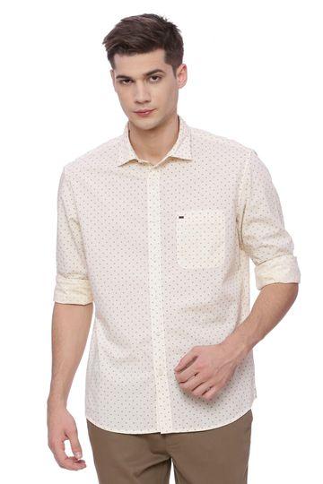 Basics | Basics Slim Fit Sand Beige Printed Shirt