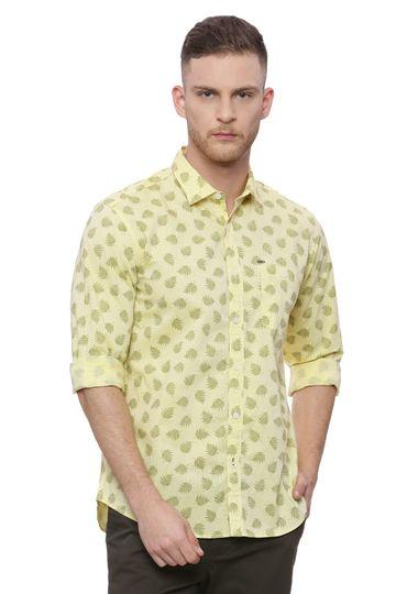 Basics | Basics Slim Fit Mellow Yellow Printed Shirt