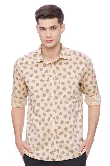 Basics | Basics Slim Fit Honey Beige Printed Shirt