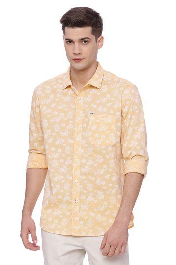 Basics | Basics Slim Fit Apricot Sherbet Printed Shirt