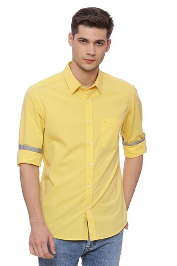 Basics | Basics Slim Fit Aspen Gold Yellow Fil a Fil Shirt