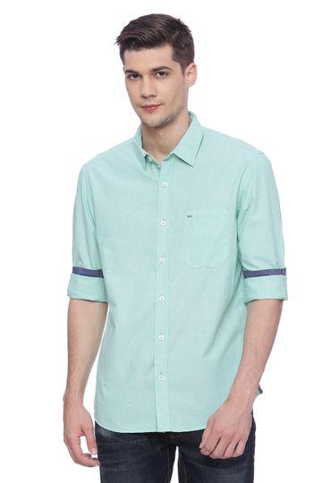 Basics | Basics Slim Fit Neptune Green Fil a Fil Shirt