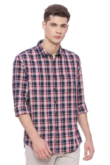 Basics | Basics Slim Fit Blossom Orange Checks Shirt