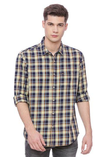 Basics | Basics Slim Fit Straw Yellow Checks Shirt