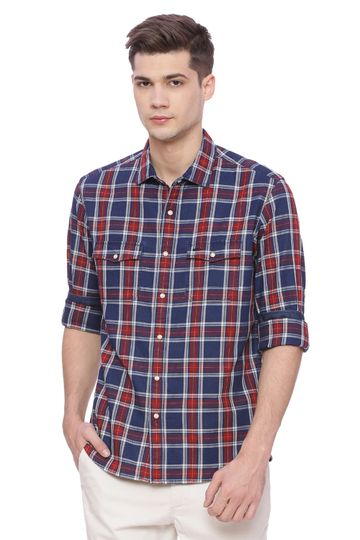 Basics | Basics Slim Fit Pepper Red Checks Shirt