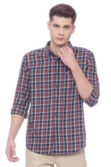 Basics | Basics Slim Fit Jaffa Orange Checks Shirt