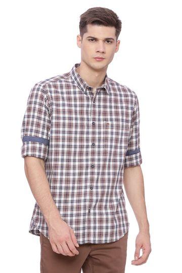 Basics   Basics Slim Fit Friar Brown Checks Shirt