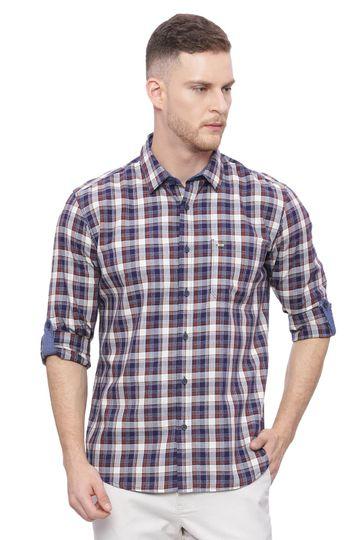 Basics   Basics Slim Fit Patridge Brown Checks Shirt