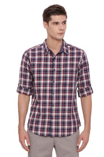 Basics | Basics Slim Fit Biking Red Checks Shirt