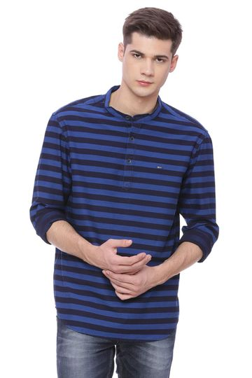 Basics | Basics Slim Fit Nautical Blue Weft Stripes Shirt