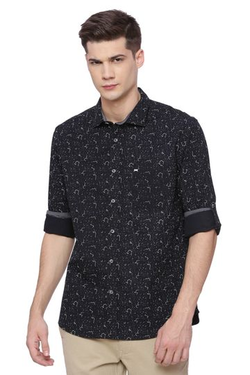 Basics | Basics Slim Fit Pirate Black Printed Shirt