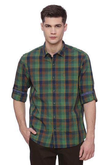 Basics | Basics Slim Fit Fairway Green Checks Shirt