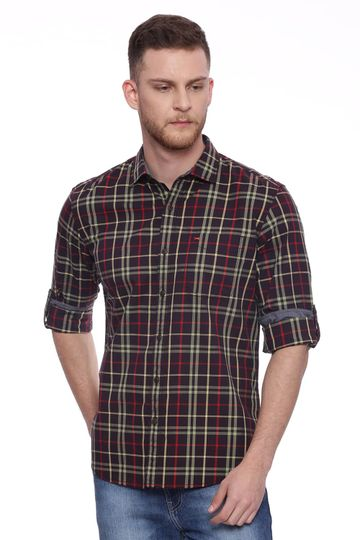 Basics   Basics Slim Fit Black Coffee Checks Shirt