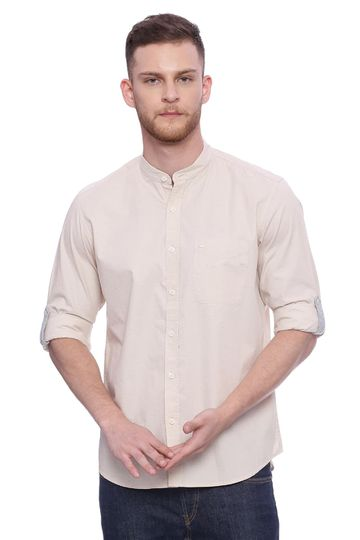 Basics | Basics Slim Fit Safari Beige Neps Shirt