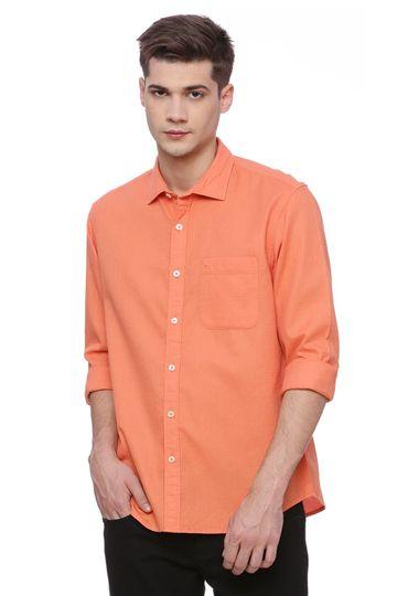 Basics | Basics Slim Fit Dusty Orange Dobby Shirt