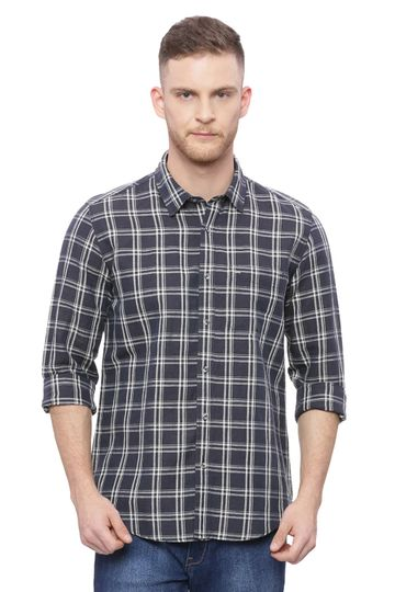 Basics | Basics Slim Fit Total Eclipse Checks Shirt