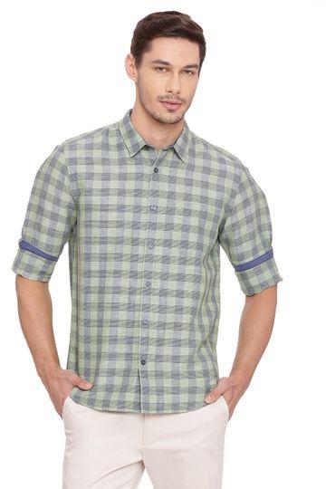 Basics | Basics Slim Fit Mineral Green Checks Shirt