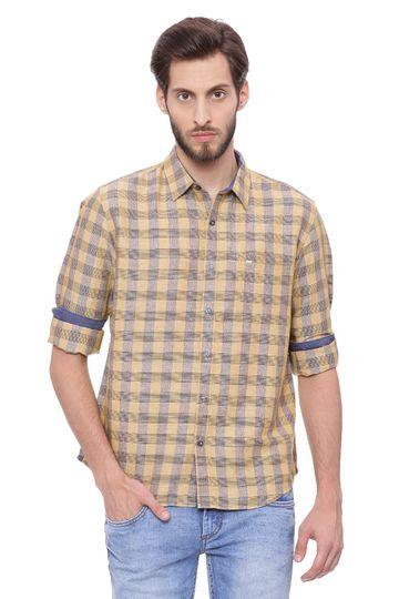 Basics | Basics Slim Fit Taffy Khaki Checks Shirt