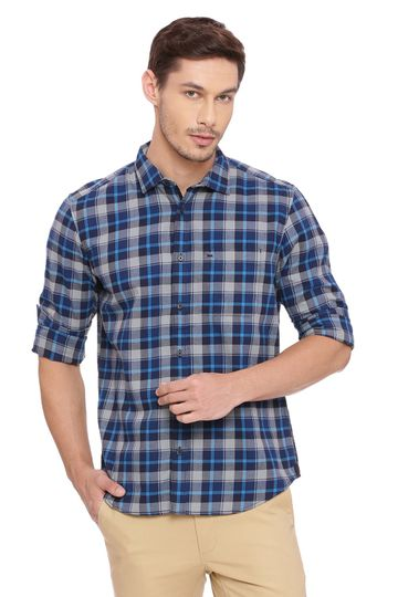 Basics | Basics Slim Fit Cyan Aqua Checks Shirt