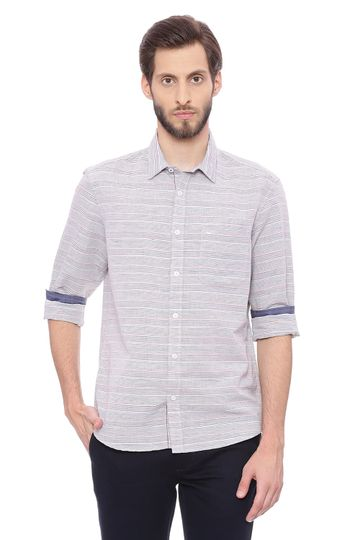 Basics | Basics Slim Fit Dress Navy Weft Stripes Shirt