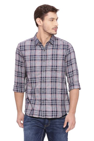 Basics | Basics Slim Fit Incense Grey Checks Shirt