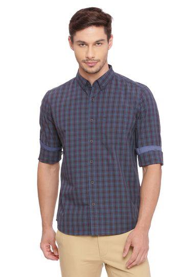 Basics | Basics Slim Fit Picante Blue Checks Shirt
