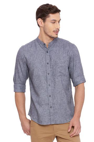 Basics   Basics Slim Fit Periscope Grey Twill Melange Shirt