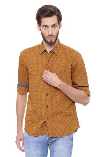 Basics   Basics Slim Fit Spruce Khaki Printed Shirt