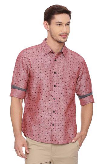 Basics | Basics Slim Fit Sable Red Printed Shirt