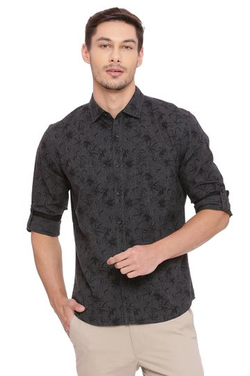 Basics | Basics Slim Fit Forest Green Printed Shirt